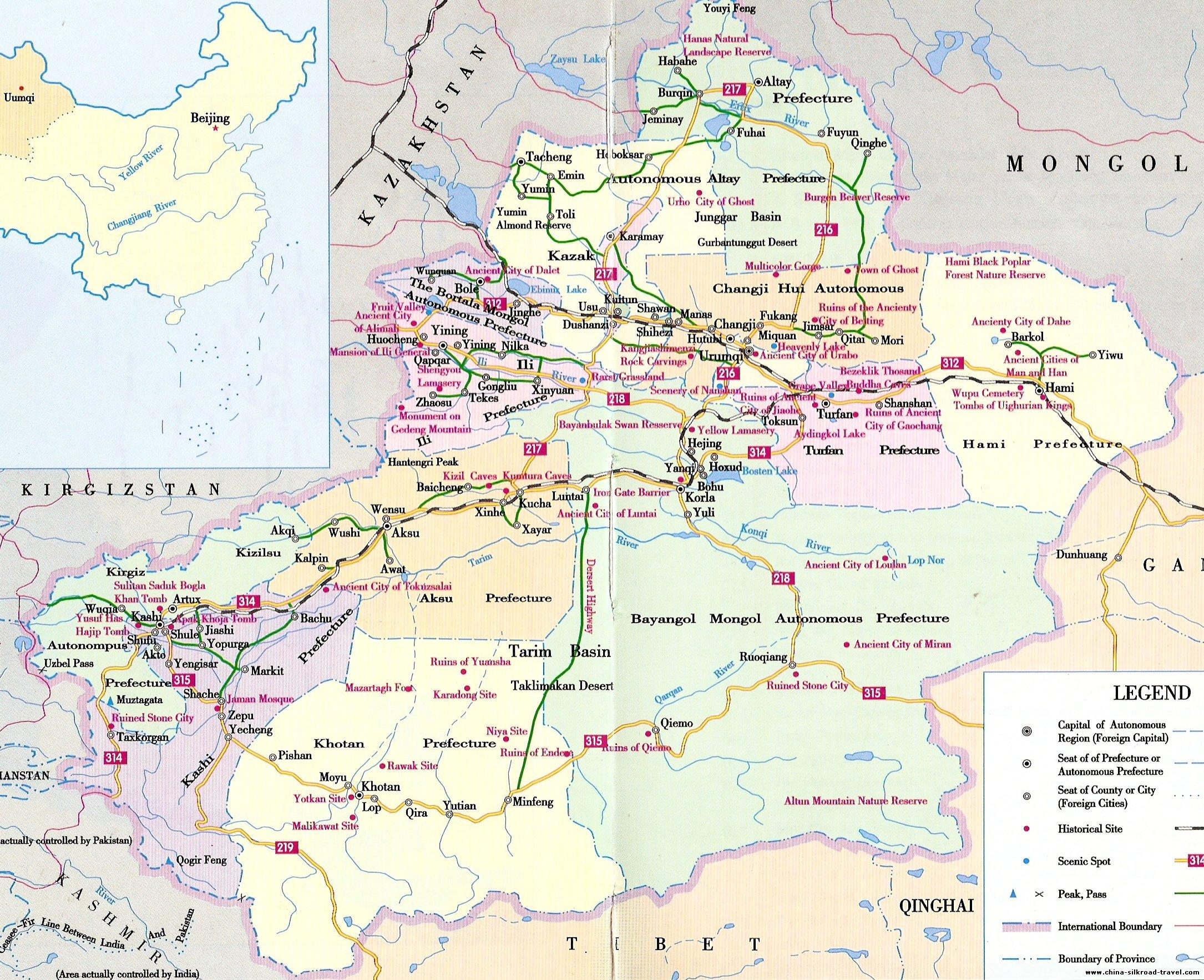 xinjiang travel map