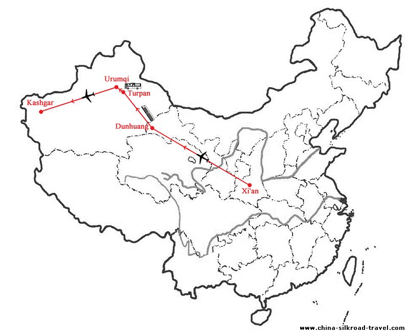 Luxury Silk Road Tour: Xi'an Dunhuang Turpan and Kashgar Map